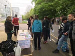 Bromley and Croydon DPAC with a Trash The Tories Stall on student campus Photo © Paula Peters