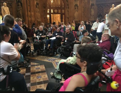 Week of Action: DPAC occupies Parliament lobby area to protest against social care funding cuts