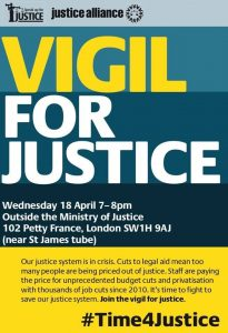 Vigil for Justice, 18th April 7-8pm, Outside Ministry for Justice