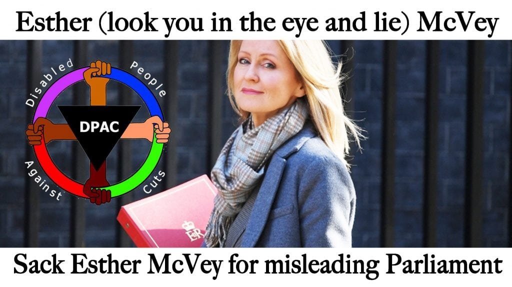 Meme - caption - Esther (look you in the eye and lie) McVey - Sack Esther McVey for misleading Parliament
