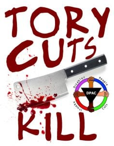 "Meme with the text ""Tory Cuts Kill"" showing a bloody meat cleaver"