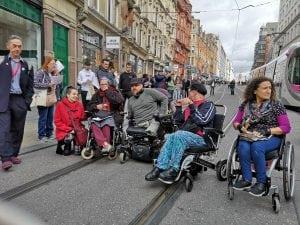 DPAC Protesters blocking Birmingham's tram routes