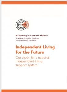 "Front cover of ""Independent Living for the Future"" document"